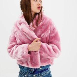NEW PINK Zara FAUX FUR JACKET One button Casual Dr